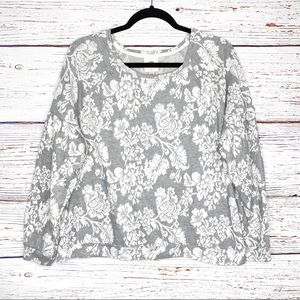 Knox Rose jacquard floral crew neck pullover